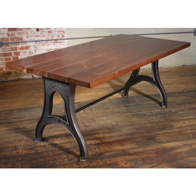 Get Back, Inc. Industrial Desk – Walnut Top With Cast-Iron Legs For Sale - Image 4 of 13