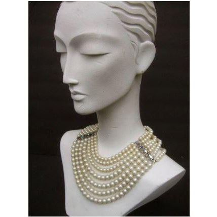 Mid-Century Modern Schiaparelli Faux Pearl Bib Necklace and Earring Set. 1960's. For Sale - Image 3 of 8