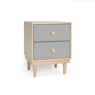 Lukka Modern Kids 2-Drawer Nightstand in Maple With Gray Finish Preview