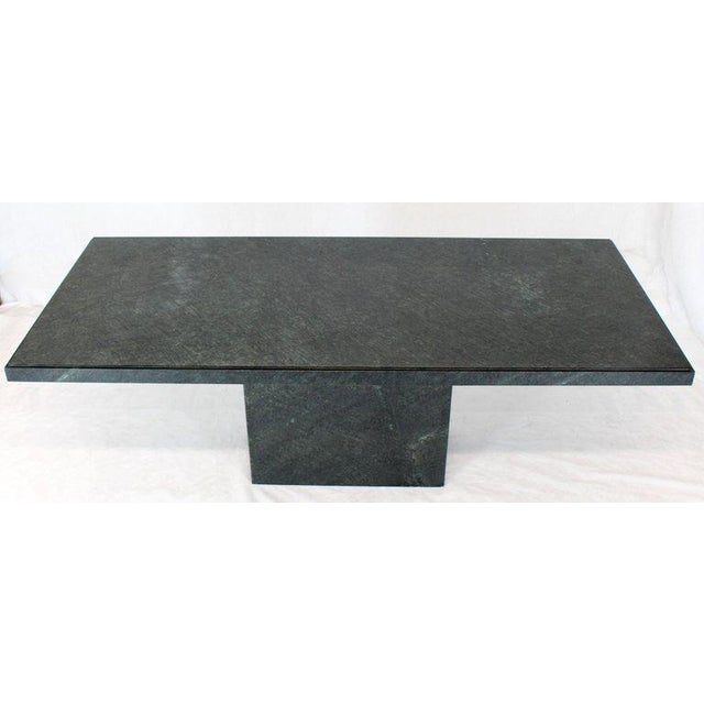 Rectangular Single Marble Pedestal and Top Dining Conference Table Deep Green For Sale - Image 9 of 13