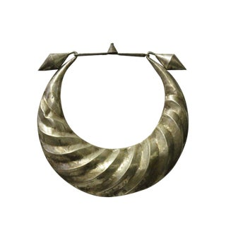 Chinese Miao Tribe Silver Color Nickel Necklace Wall Decor Accent For Sale