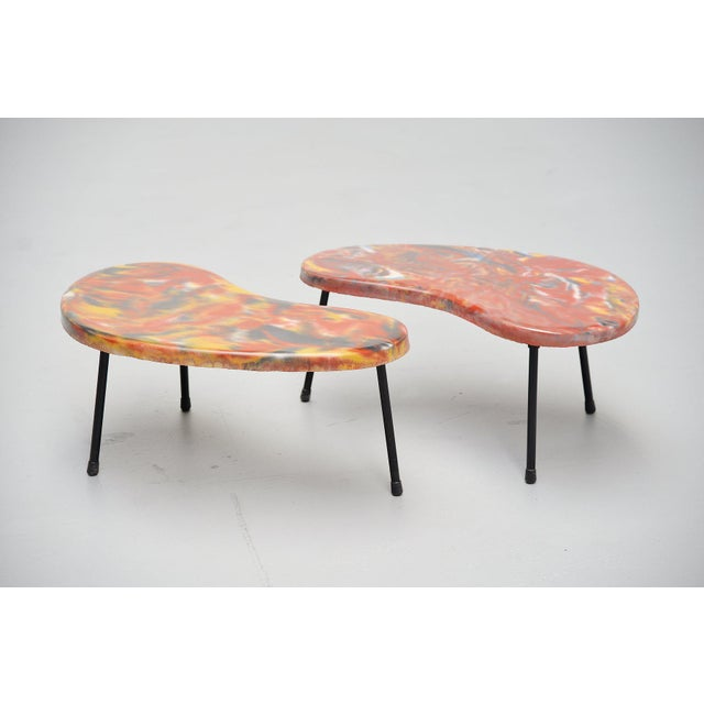 Kidney Shaped Tables France 1960 - a Pair For Sale - Image 9 of 9