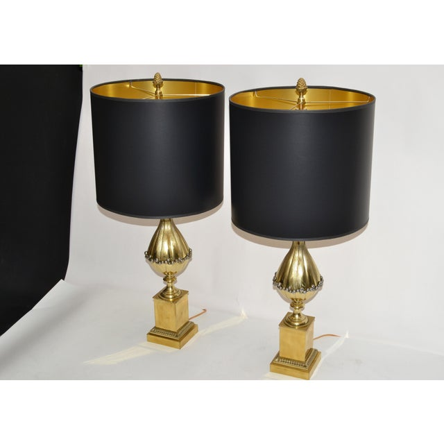 Maison Charles French Art Deco Lotus Bronze Table Lamp Black & Gold Shade - Pair For Sale - Image 13 of 13