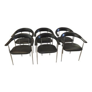 1980s Fasem Chrome and Black Rubber Dining Chairs, Set of 6 For Sale