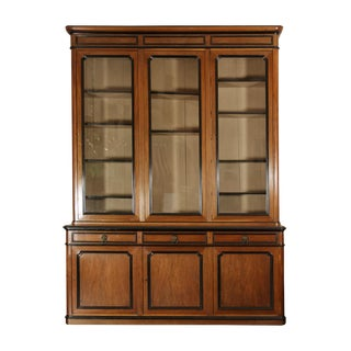 Mid 19th Century French Walnut Bureau Bookcase With Ebonized Trim and Original Glazing For Sale