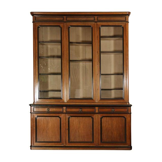 Mid 19th Century French Walnut Bureau Bookcase With Ebonized Trim and Original Glazing For Sale
