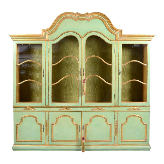 Italian Baroque Style Parcel Gilt Green Painted Cabinet For Sale