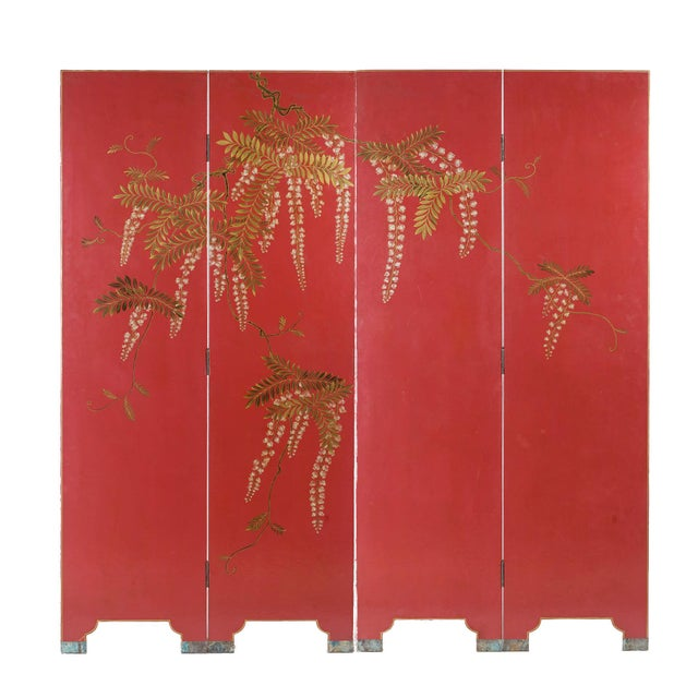 Double-Sided Leather Burgundy Red Wisteria Scene Room Divider Screen by Lawrence & Scott For Sale - Image 13 of 13