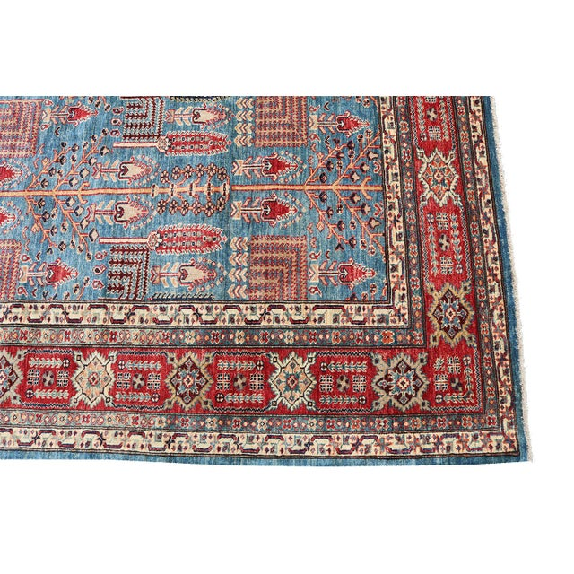 Traditional Bijar Design Blue Multi Color Hand-Knotted Wool Rug - 8′ × 9′ - Image 2 of 6