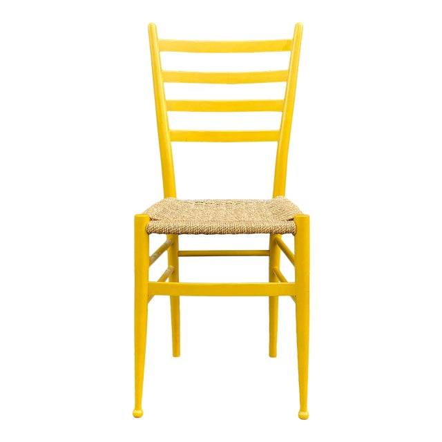 Woven Rope Gio Ponti Style Side Chair For Sale