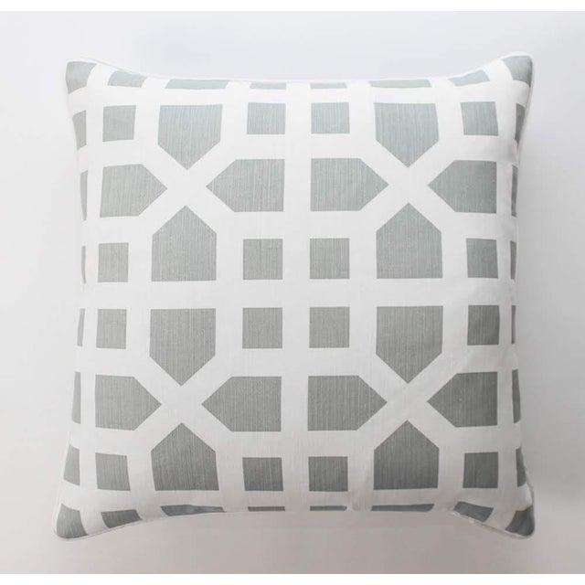 Contemporary Linen Avignon Trellis Custom Pillows, a Pair For Sale - Image 3 of 5