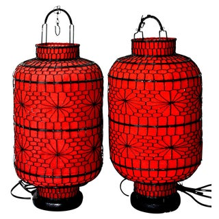 Hand Made Chinese Red Lanterns - a Pair For Sale