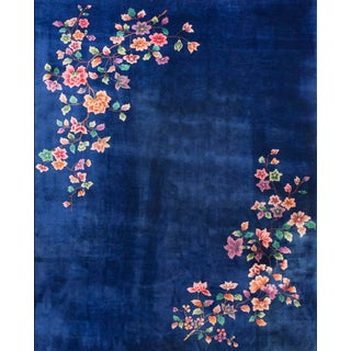 1920s Antique Art Deco Chinese Blue Rug-8′9″ × 11′6″ For Sale