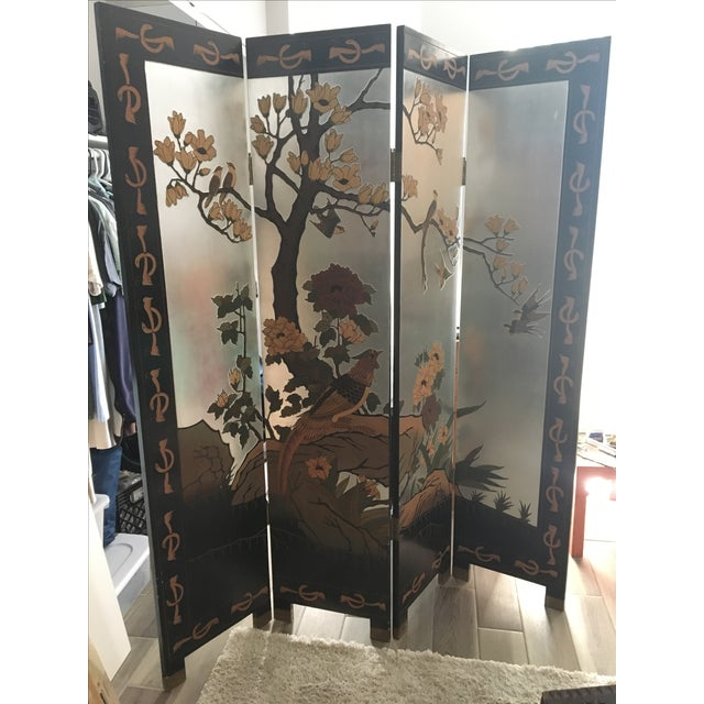 Vintage Hand-Carved Asian Screen - Image 2 of 8