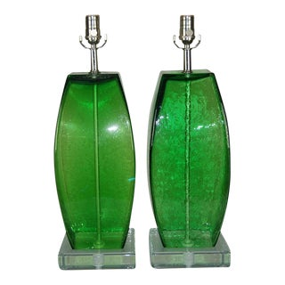 Hand Blown Art Glass Lamps Green For Sale