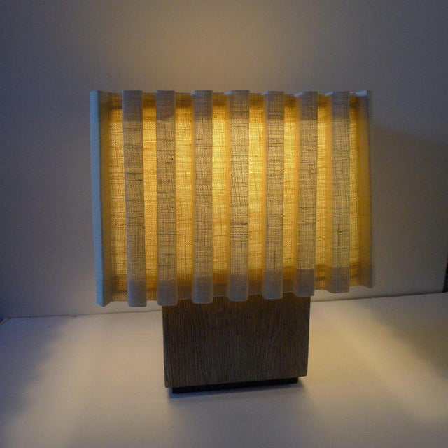 Paul Marra Paul Marra Modern Distressed Oak Table Lamp For Sale - Image 4 of 8