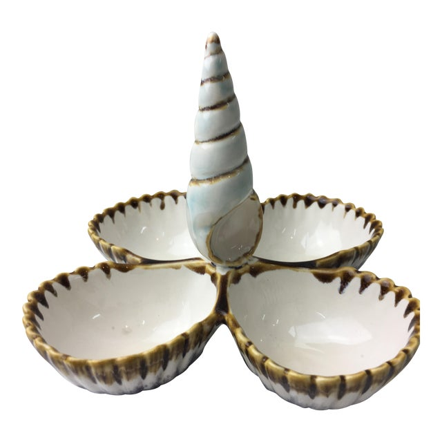 Transitional Majolica Seashell Style Nut Server - Image 1 of 5
