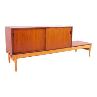 Danish Teak Mid Century Reversible Seat Foyer Entry Storage Bench For Sale