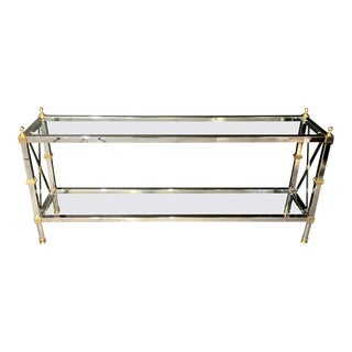 Hollywood Regency Style Console / Tv Table Steel and Brass Jansen Fashioned For Sale