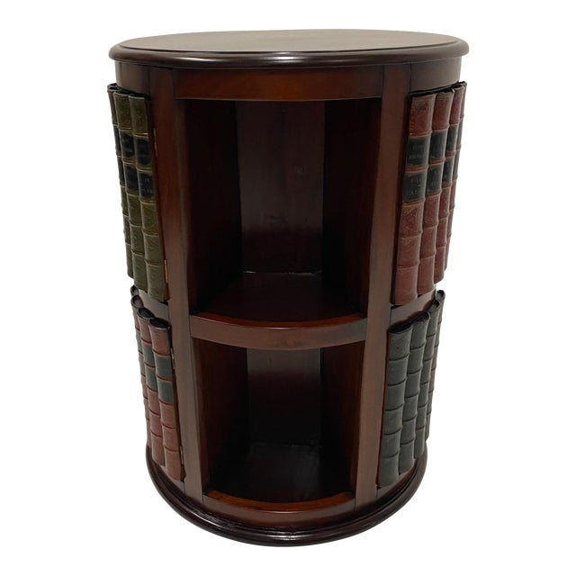 Mahogany and Leather Revolving Book Motife Cabinet For Sale