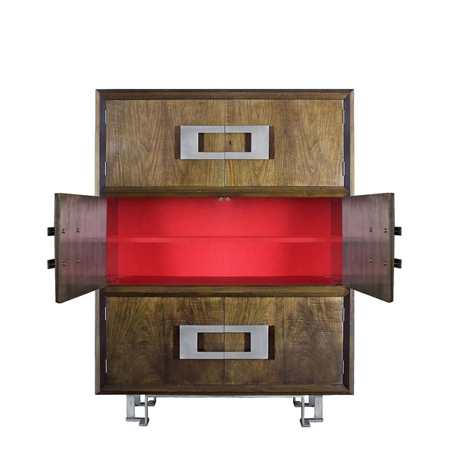 1970s Dry Bar by Jordi Vilanova, Six Doors, Walnut, Lacquer, Brass, Barcelona For Sale - Image 6 of 12