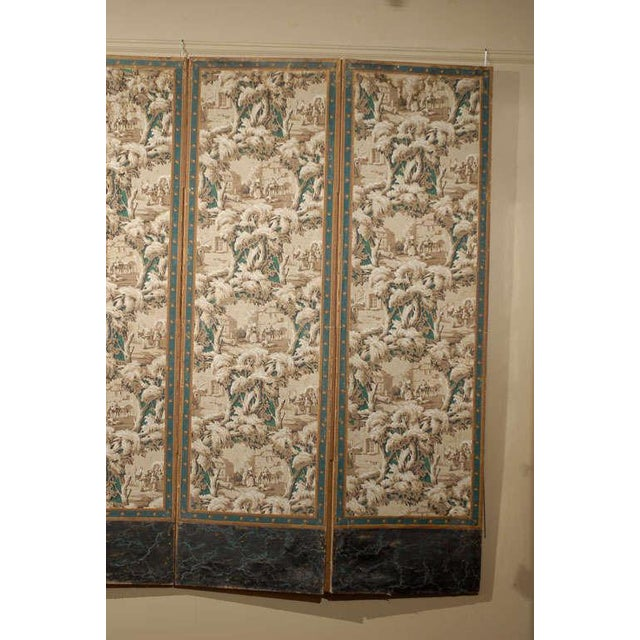 French French 19th Century Zuber Style Four-Panel Paper on Canvas Screen For Sale - Image 3 of 11