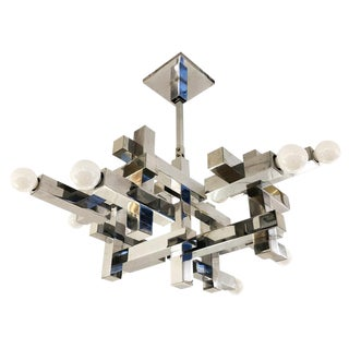 Gaetano Sciolari Cubic Nickel Chandelier, Italy, 1960s For Sale