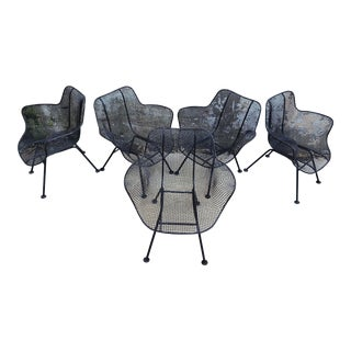 Russell Woodard Mesh Sculptura Lounge Metal Chairs - Set of 5 For Sale
