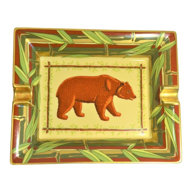 Vintage Hermès Bear and Bamboo Cigar Tray For Sale