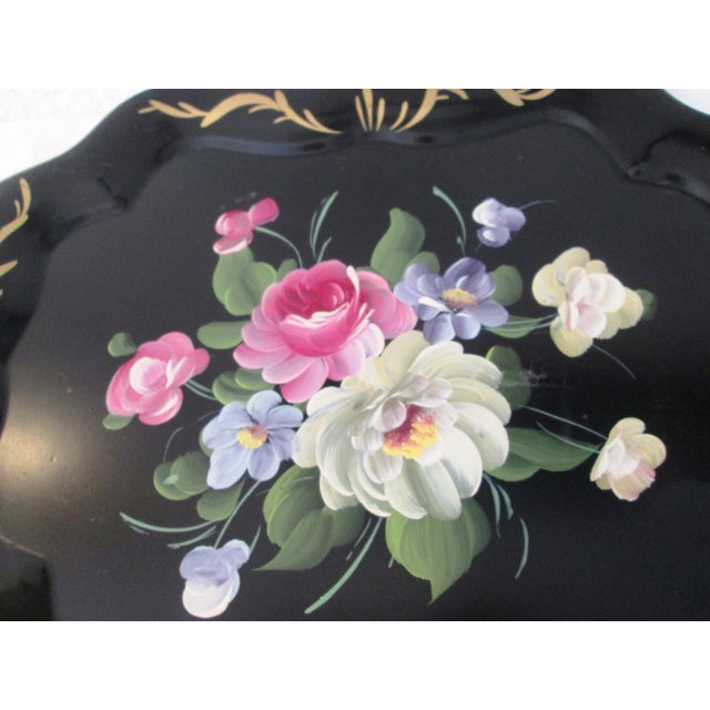 Vintage Large Tole Floral Tray - Image 4 of 7