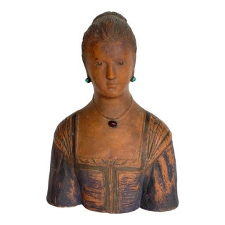 1920s Terra Cotta Bust For Sale