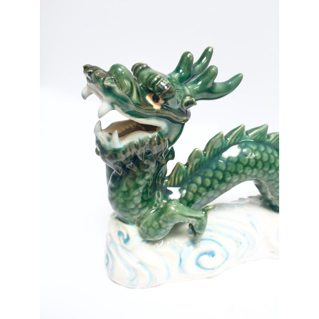 Vintage Hand Painted Ceramic Green Dragon Figurine - Image 7 of 8