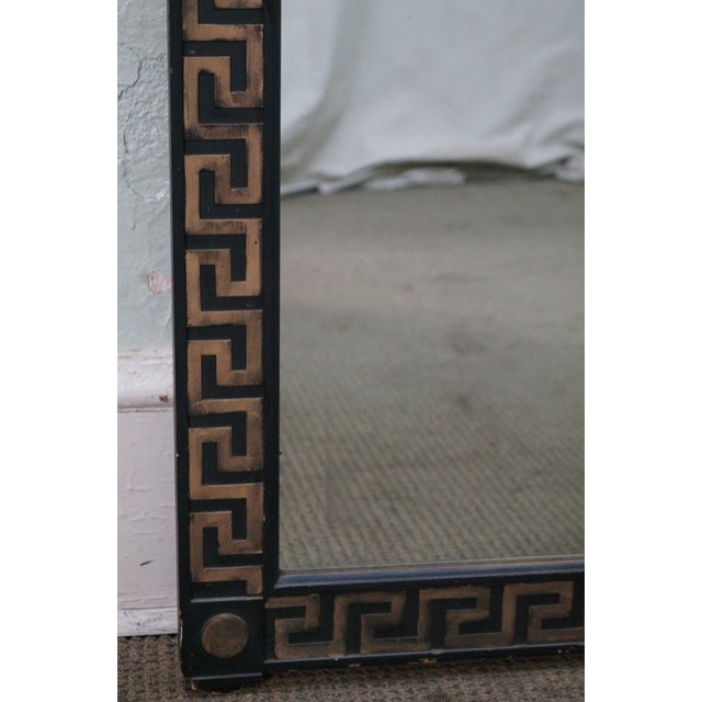 Black Vintage Hollywood Regency Greek Key Mirror For Sale - Image 8 of 10