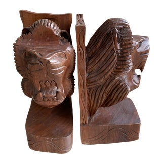 1970s Primitive Hand Carved Wood Lion Head Bookends - a Pair For Sale