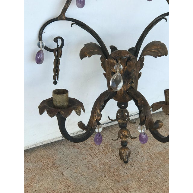 French 19th Century French Rock Crystal and Amethyst Sconces - a Pair For Sale - Image 3 of 5