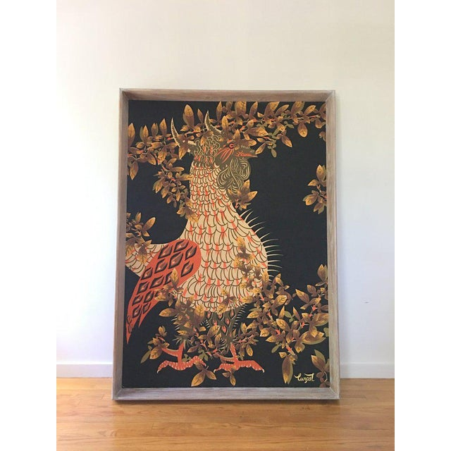 French Jean Lurcat Mid-Century Modern Framed French Rooster Tapestry For Sale - Image 3 of 11