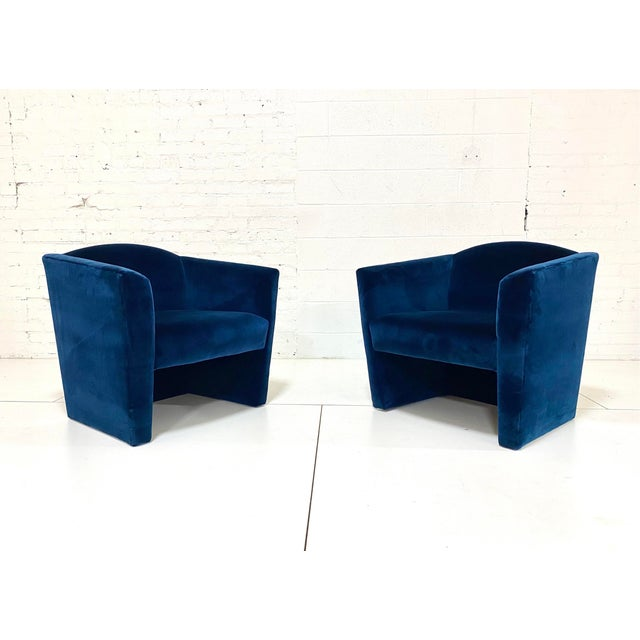 Blue Post Modern Angular Barrel Back Lounge Chairs - a Pair For Sale - Image 8 of 8