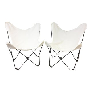 Mid Century Modern Hardoy Butterfly Chairs with White Canvas - A Pair