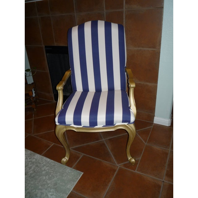Regal Gold & Blue Striped Chair - Image 10 of 10