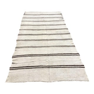 Black & White Striped Vintage Kilim For Sale