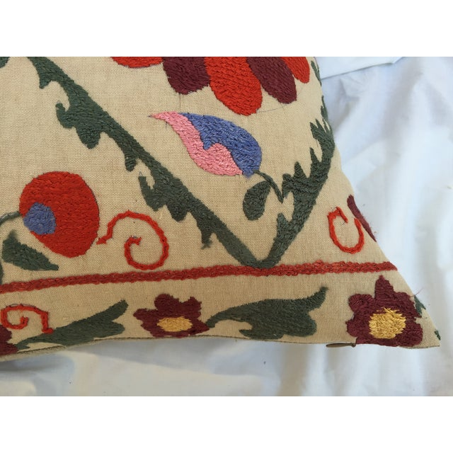 Antique Embroidered Suzani Pillow - Image 4 of 7