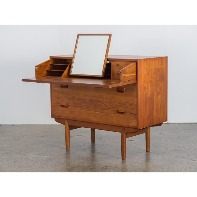 1950s Børge Mogensen Teak Vanity with Fold Out Mirror For Sale - Image 5 of 11