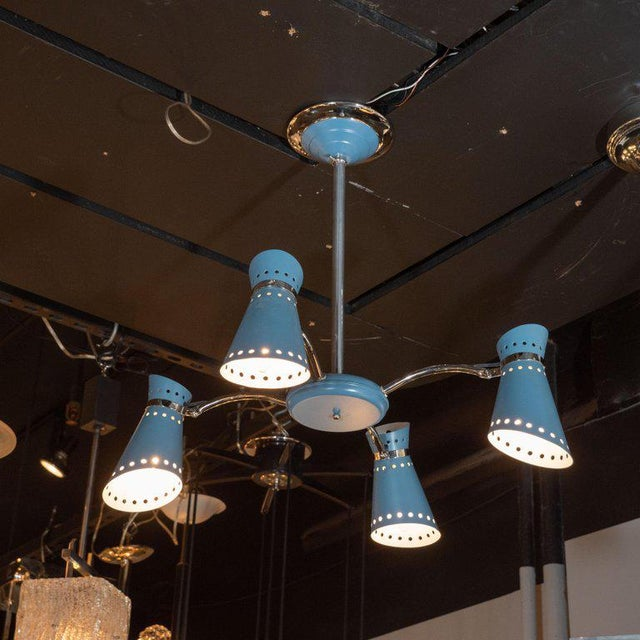 Blue Mid-Century Modern Four-Arm Chrome and Cerulean Blue Enamel Chandelier For Sale - Image 8 of 9