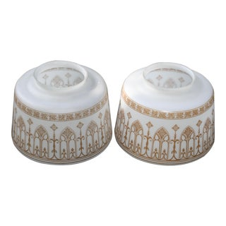 Vintage Glass Ceiling Shades Milk White Gold Arch Design - a Pair For Sale