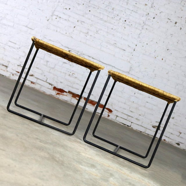 Caif-Asia Style Wrought Iron and Rattan Side Tables - A Pair For Sale - Image 6 of 13