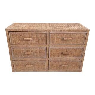 Vintage Rattan Six Drawer Dresser For Sale