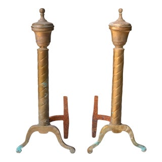 Antique Federal Imperial Twisted Copper Fireplace Andirons - a Pair For Sale
