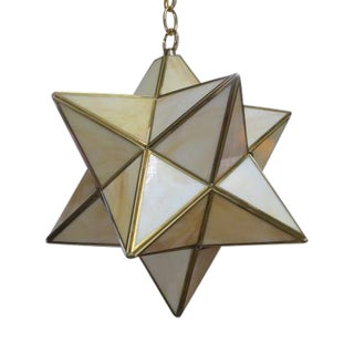 Vintage Mid Century Modern Slag Glass Star Hanging Lamp, C1980 For Sale
