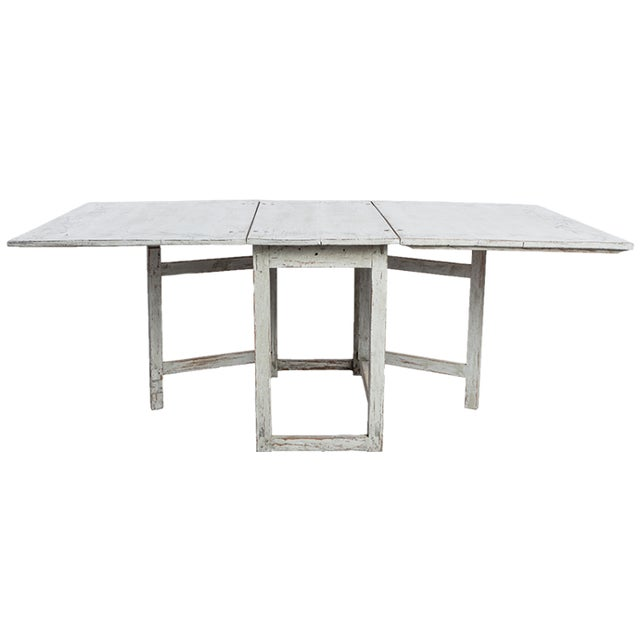 Antique White Swedish Country Dining Table With Painted Botanical Motif For Sale In New York - Image 6 of 6