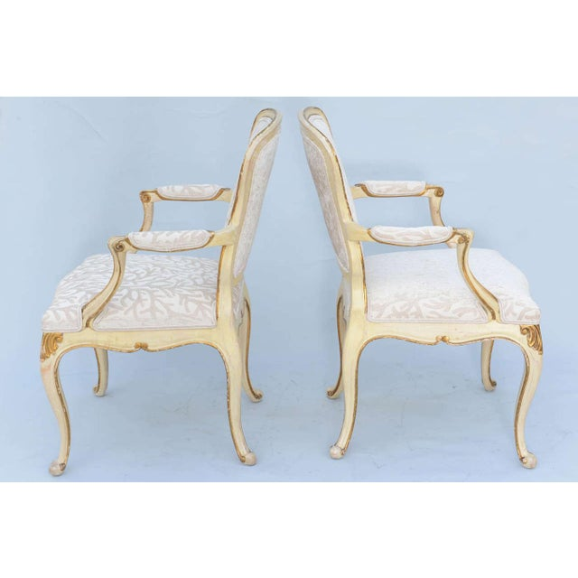 Pair of Painted & Parcel Gilt Armchairs For Sale In West Palm - Image 6 of 9